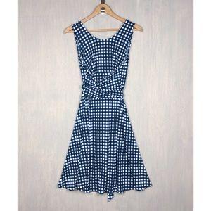 Leota check print wrap tie waist dress M